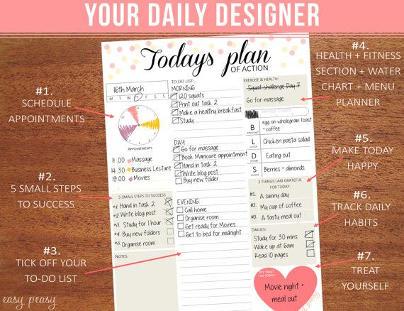 "Daily Planner Printable, day organizer, A4 daily planner, A5 daily planner, 8.5""x11""  - chic planner,"