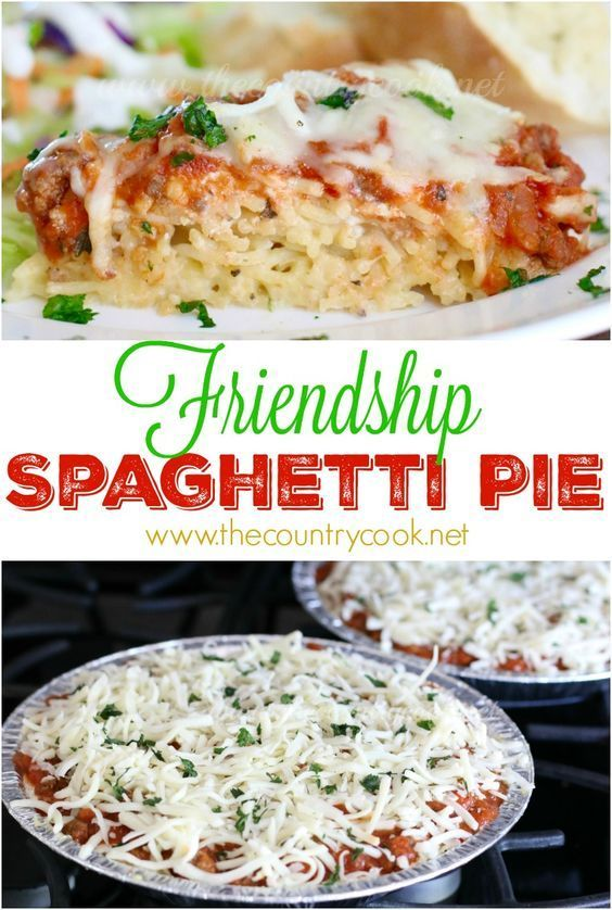 Friendship Spaghetti Pie recipe from The Country Cook. This turned out SO good. Make one & take one (or freeze for later.) One of the best pasta recipes I have made in a long time.  Layers of creamy spaghetti, meaty spaghetti sauce and gooey cheeses!