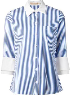 double cuff striped shirt