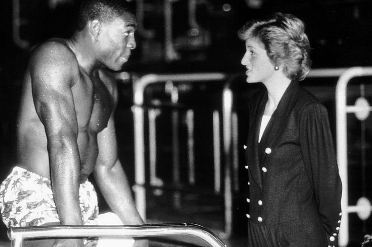 Princess Diana comes face to face with Frank Bruno in October 1989