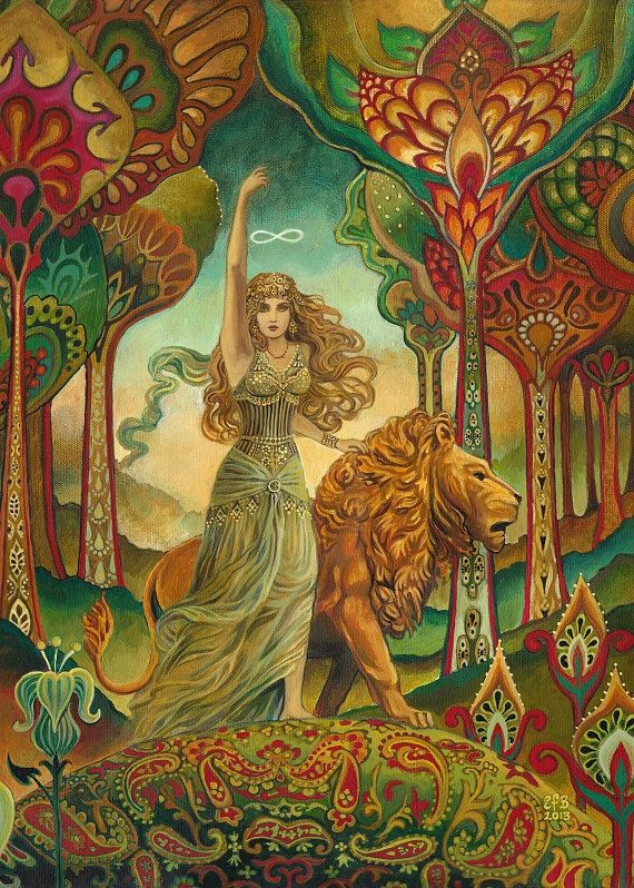 Strength Tarot Goddess Art Nouveau Psychedelic 5x7 Greeting Card Pagan Mythology Psychedelic Bohemian Gypsy Goddess Art