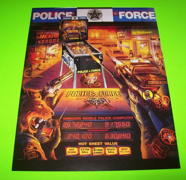 POLICE FORCE By WILLIAMS 1989 ORIGINAL NOS MINT PINBALL MACHINE PROMO SALE FLYER #pinballflyer #policeforce
