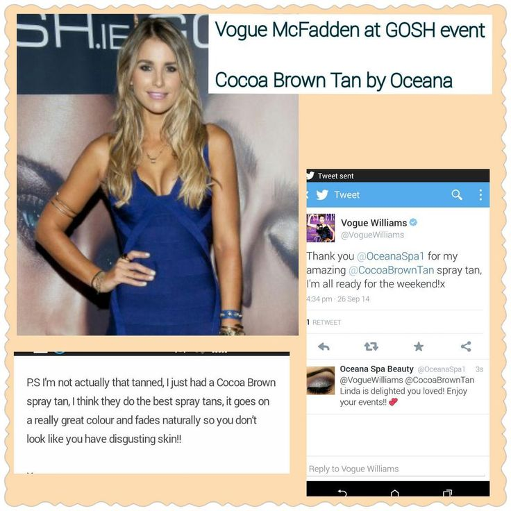 Vogue Williams at GOSH event wearing Cocoa Brown Spray Tan by Oceana Spa Beauty