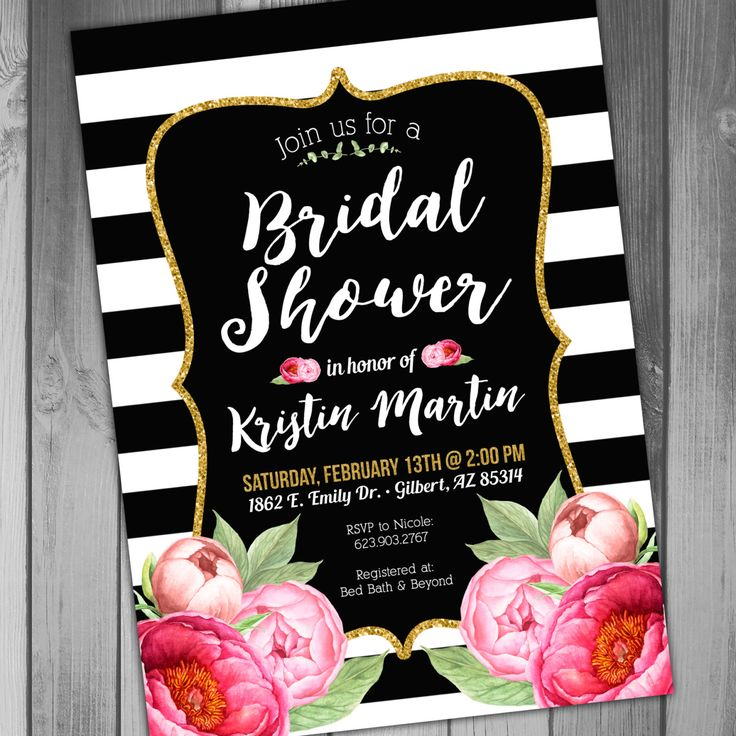 recipe themed bridal shower invitation wording%0A Bridal Shower Invitation Black and Gold and Black by CLaceyDesign