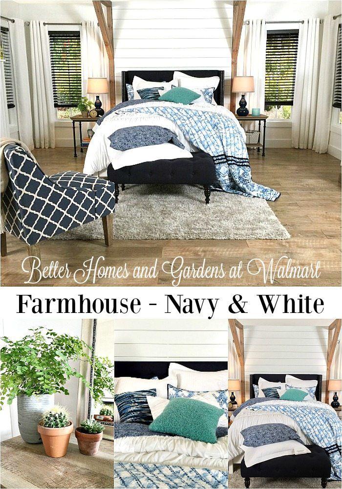 Farmhouse Bedroom Navy + White