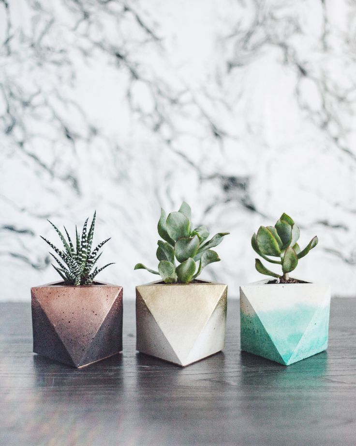 Hand Made Geometric Concrete Planters Available In A Variety Of