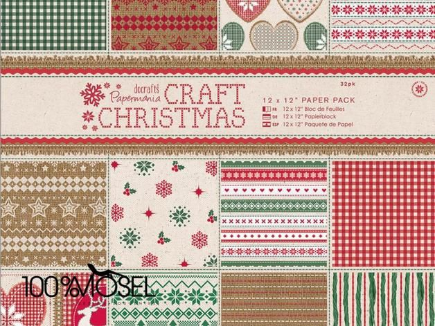 "Papermania 30,5 x 30,5 cm Papierset (32 Blatt) - Craft Christmas - 12 x 12"" Paper Pack (32pk) Scrapbooking - Papierset aus der Kollektion Christmas in the Country  32 Bogen, 160g schweres Papier in..."