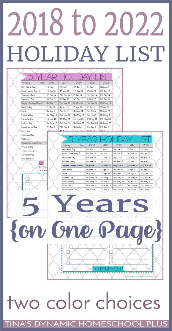 2018 To 2022 Holiday List On One Planner Page 5 Years Planner Pages Holiday List Planner