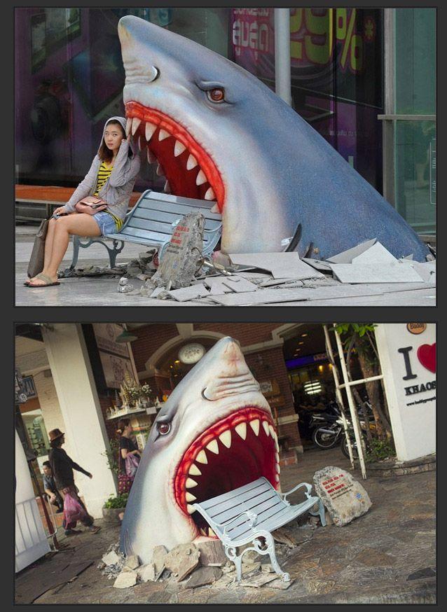 Publicidad creativa en un centro comercial.