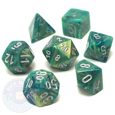 This dice set of green Lustrous dice with silver numbers contains the following: 1 four-sided dice (d4) 1 six-sided dice (d6) 1 eight-sided dice (d8) 1 ten-sided dice (d10) 1 percentile dice (d%) 1 12