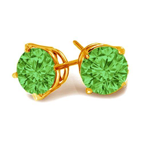 #6017 Green Diamond Brilliant Cut Earrings in 14k Yellow Gold 0.