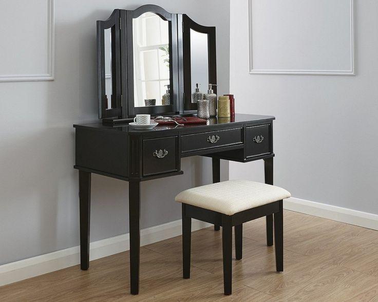 SEN115 - Masă neagra de machiaj, cu 3 oglinzi - http://www.emobili.ro/cumpara/sen115-set-masa-neagra-toaleta-cosmetica-machiaj-oglinda-masuta-scaun-724 #eMobili