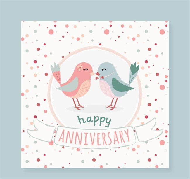 Cartoon Lovers Bird Anniversary Card Vectorgraph Download The Hd Full Version On Heypik Com Wedding Anniversary Cards Anniversary Greeting Cards Card Design