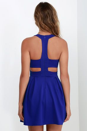 Cutout and About Royal Blue Skater Dress at Lulus.com!