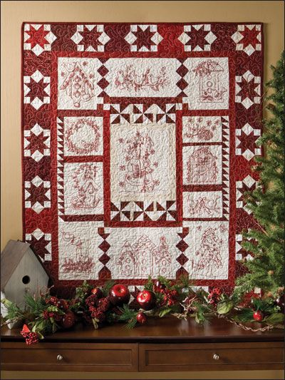 Christmas Twitterings Quilt - Redwork + Red and White quilt