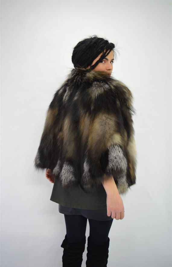 Real fur cape smoky fox fur jacket genuine quality fox by BeFur