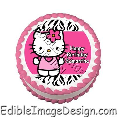Hot pink zebra print hello kitty edible cake image topper for Animal print edible cake decoration