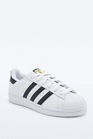 adidas Originals Superstar Shell Toe White and Black Trainers - Urban  Outfitters