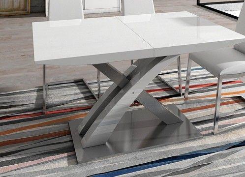 Mesa de comedor lacado blanco, con base de acero inoxidable