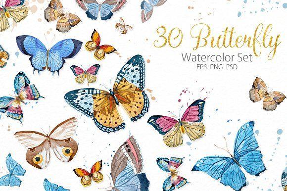 Watercolor Butterflies by Lembrik's Artworks on @creativemarket