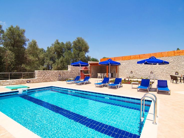 Rethymno villa rental - The pool area is equipped with sun beds and parasols!