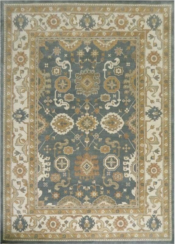 Traditional Gray Hand Knotted Carpet 10' X 14' For Living Room Oushak Area Rug