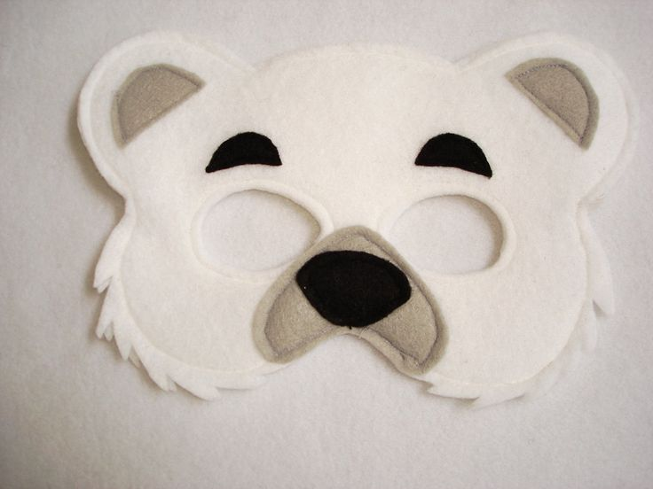 Polar bear felt mask for children via etsy our for Polar bear face template