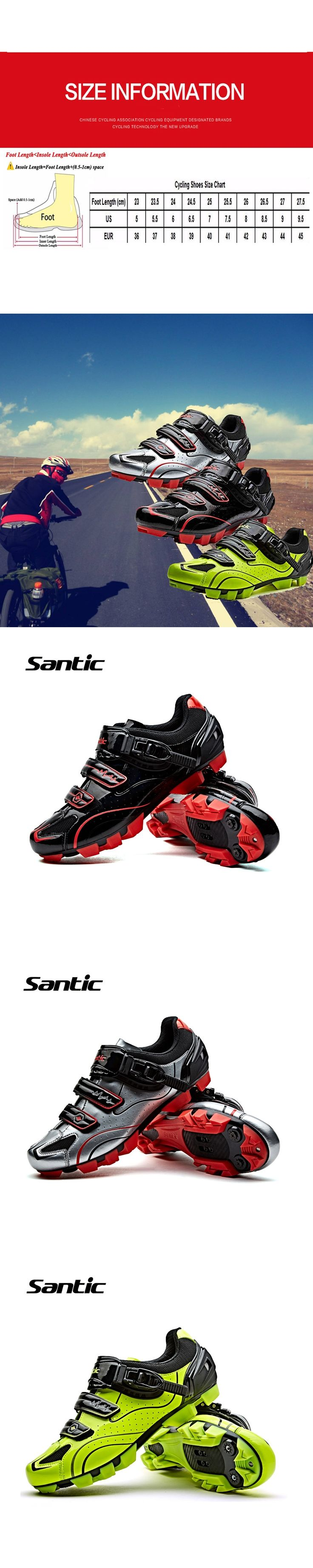 Santic Cycling Shoes MTB  Bicycle Shoes Road Men Sidebike Shoes PU & Mesh Breathable Road Bike Shoes S12001