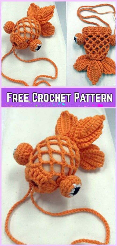 Crochet Little Gold Fish Bag Free Pattern