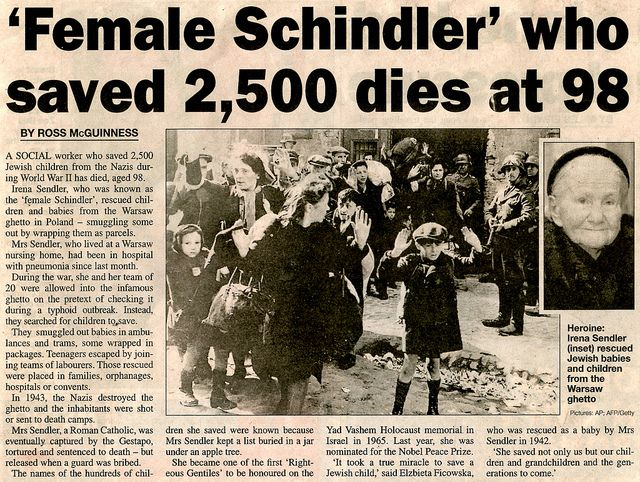 Irena Sendler (1910-2008). Rescued thousands of Jewish children during the Holocaust.