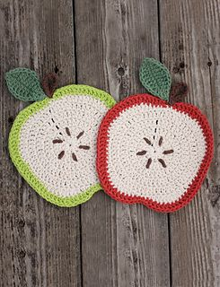 Apple is worked in rounds. Leaf is worked in rows. Add hanging loop and embroider seeds to finish.