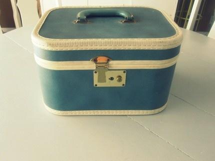 blue vintage traincase