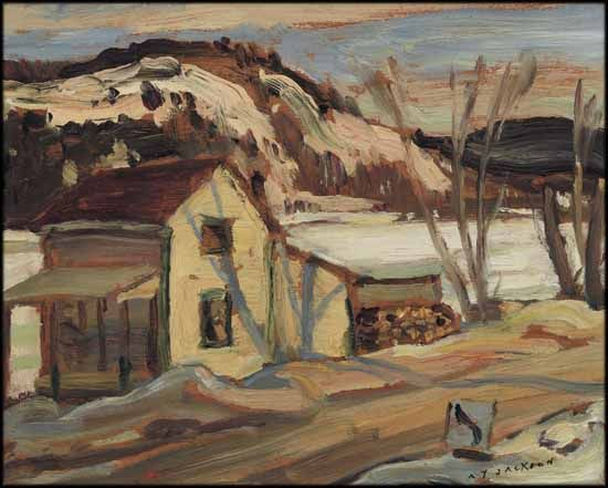 A.Y. Jackson - By The Gatineau River 8.5 x 10.5 Oil on board (1948)