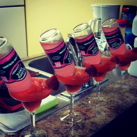 Bachelorette Party - 1.4 oz of tequila, margarita mix, blended with ice, add mikes hard pink lemonade.