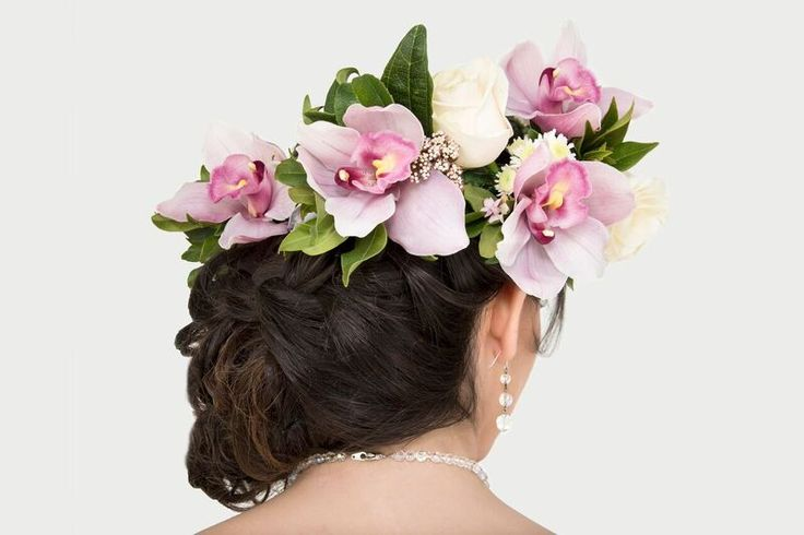 Orchid crown for photoshoot http://www.wanakaweddingflowers.co.nz/gallery/