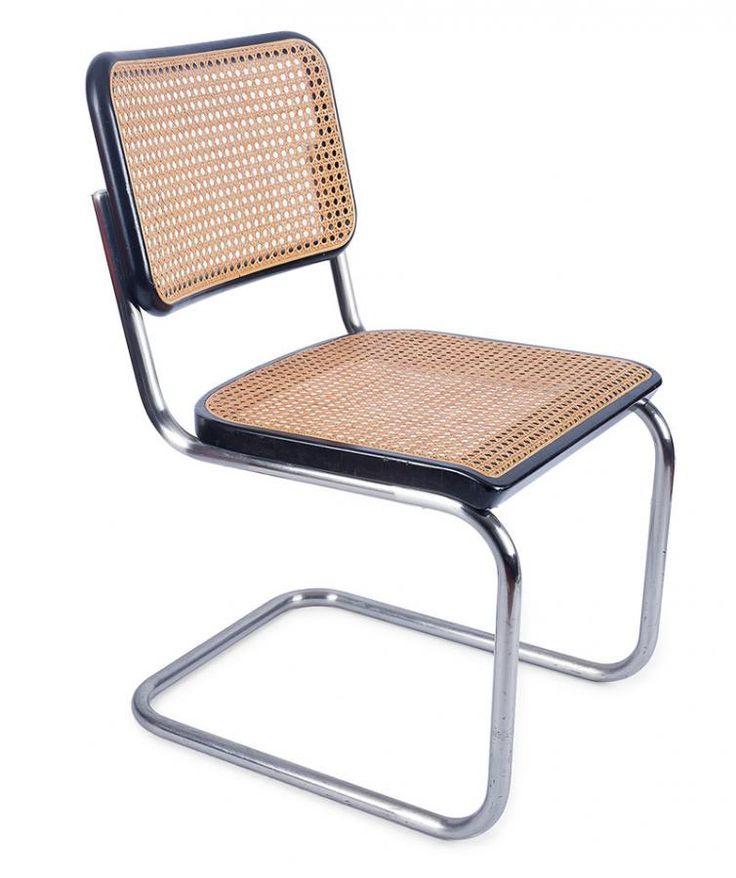 Komplet 4 krzeseł S 32 proj. Marcel Beruer, Thonet, Niemcy, l. 90. XX w. konstrukcja z chromowanych, stalowych rur, plecionka na ramie z drewna bukowego; wys. 79,5 cm, szer. 46 cm Estymacja: 3 200 - 3 500 zł