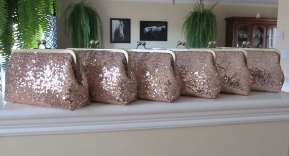 SALE Rose Gold Blush Sequin Clutch Set Of by lostintimeinc on Etsy