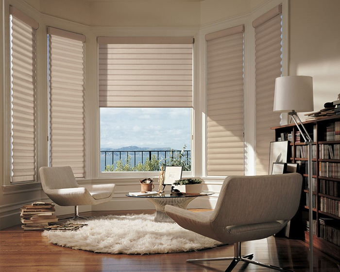 Along with a distinctive library style and timeless sophistication, amazing performance. Pirouette® window shadings ♦ Hunter Douglas window treatments #LivingRoom