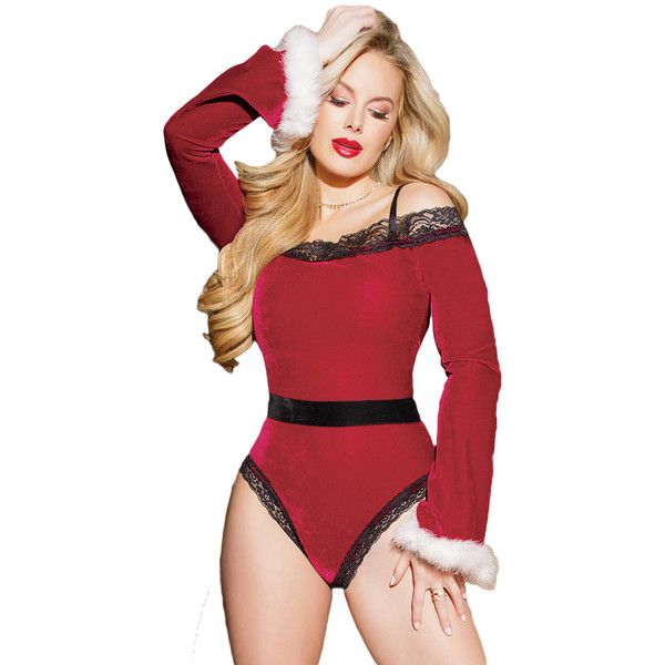 Sexy Black Red Velvet Santa Teddy Christmas Costume ($23) ❤ liked on Polyvore featuring costumes, sexy cosplay costume, women's halloween costumes, cosplay costumes, womens costumes and womens santa costume