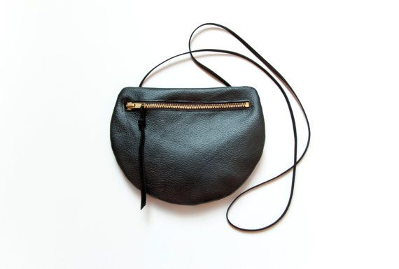 PEARL Black Leather Shoulder Purse. Small by GiftShopBrooklyn, $85.00