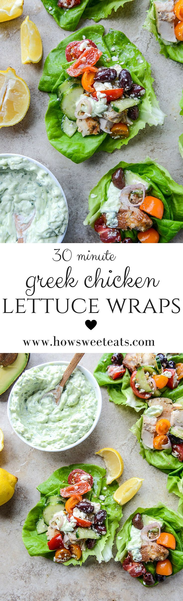 30 minutes greek chicken lettuce wraps with avocado tzatziki by @howsweeteats I howsweeteats.com