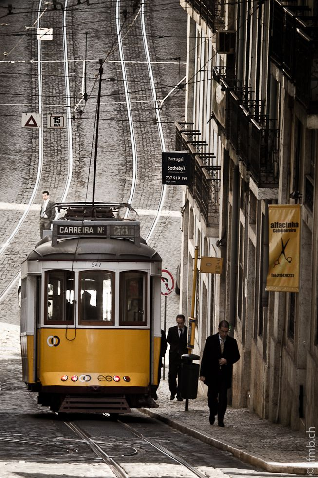 Yellow tram in Lisbon.