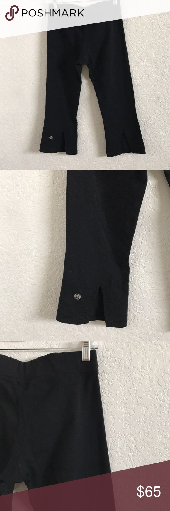 LULULEMON ATHLETICA Cropped Capri Pants Black 8 LULULEMON ATHLETICA Womens Cropped Capri Pants  Black 8 - minor wear please pics lululemon athletica Pants Track Pants & Joggers