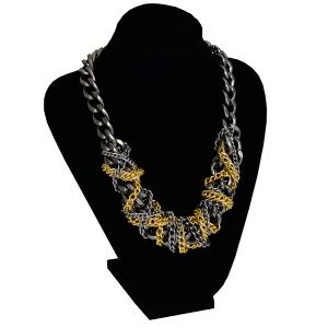 Anthracite and gold chain necklace by Dora By Ebru // Antrasit ve altın renkli zincirli kolye - Dora By Ebru