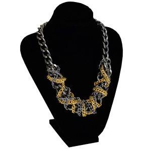 Anthracite and gold chain necklace by Dora By Ebru // Antrasit ve altın renkli zincirli kolye - Dora By Ebru