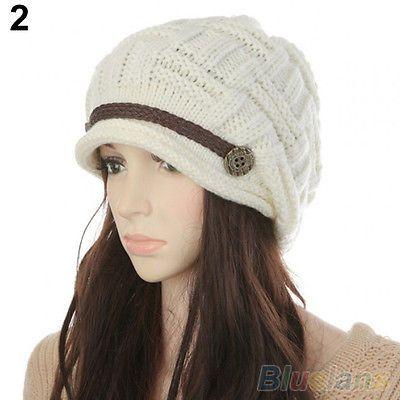 Women's New Trendy Braided Winter Warm Baggy Beanie Knit Crochet Ski Hat Cap