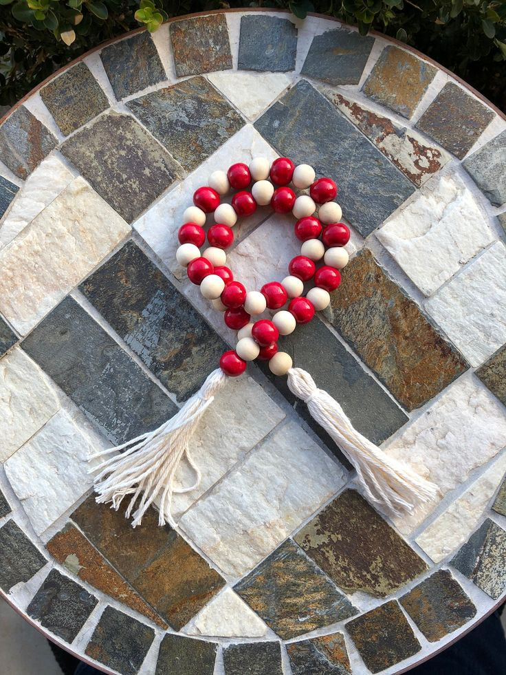 Rustic Red And natural Farmhouse Wood Bead Garland With