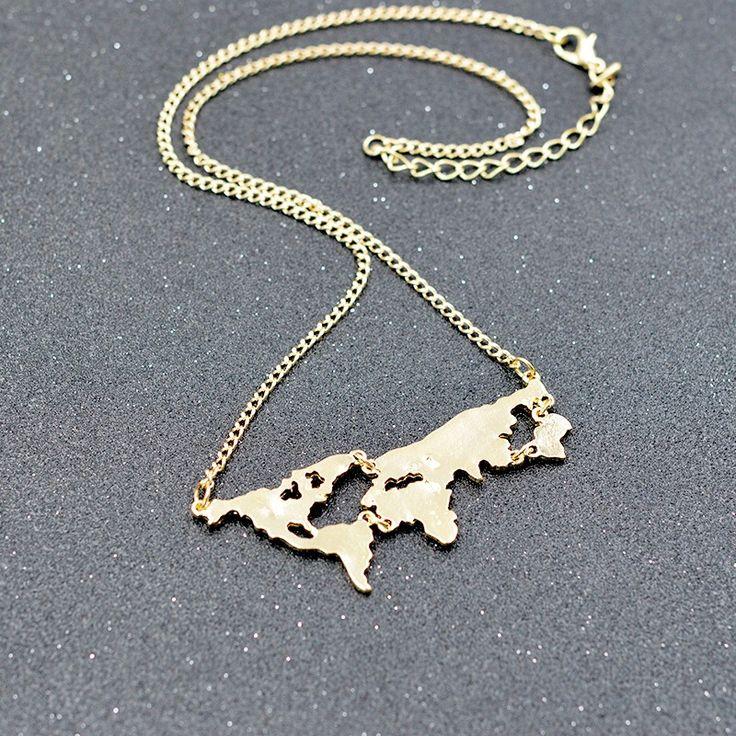 Beautiful World map Pendant, Necklace, Golden, DIY, Beauty, Style, Fashion, 2016, Choker, Gift, Gifts, Birthday, Ideas, Home, Decor, Etsy, Store, Sale, Hot, World shape,