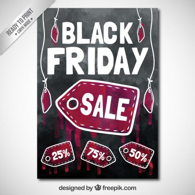 Free vector Watercolor black friday sale poster #27487