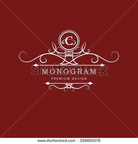 Monogram design elements, graceful template. Calligraphic elegant line art logo design. Letter emblem C. Business sign for Royalty, Boutique, Cafe, Hotel, Heraldic, Jewelry, Wine. Vector illustration - stock vector